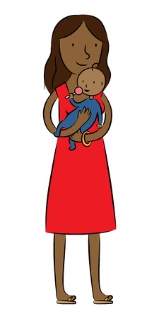 illustration of a mother holding and palying with her baby  Vector