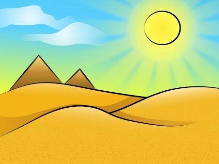 desierto del sahara: Paisaje asoleado desierto con dunas y pirámides