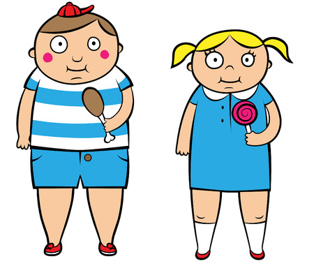 illustration of two overweight children