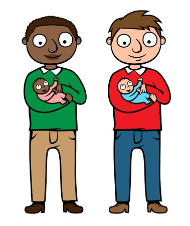 babysit: illustration of two men holding and playing with their babies, different color versions, one Caucasian and one black