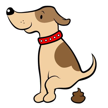 perro caricatura: Feliz de dibujos animados de perro caca Vectores