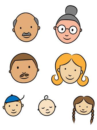 caricatura: Caras felices de la familia