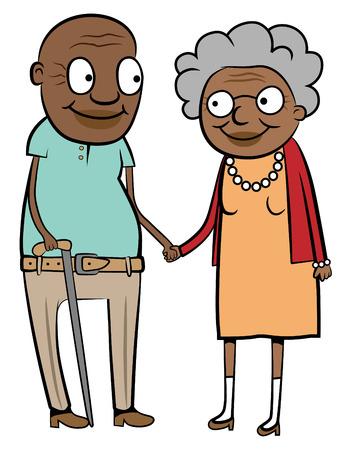 Illustratie van een gelukkige oude zwarte paar bedrijf handen