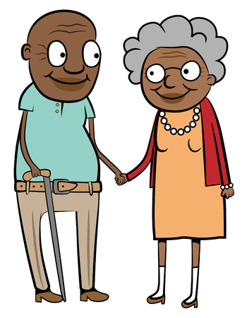 Illustration of a happy old black couple holding hands Vector