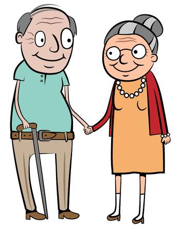 caricatura: ilustración de una feliz pareja de ancianos tomados de la mano