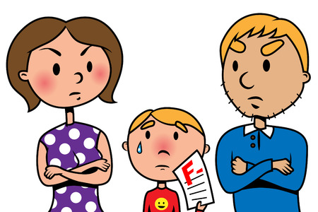 fail: Illustration of mother and father angry at their son because he failed an exam