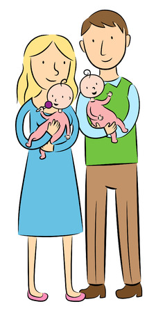 illustration of mother and father holding their twin babies