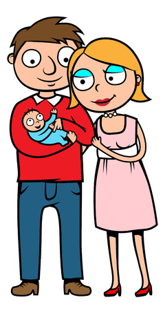 babysit: Cartoon illustration of mother, father and their new born baby Illustration