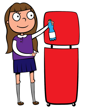 take out: illustration of a school girl throwing out a plastic bottle into a recycling wastebasket