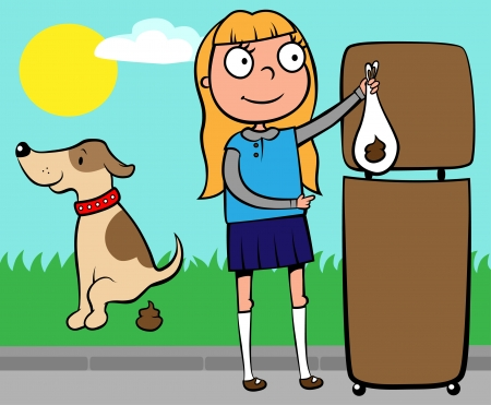 throwing: illustration of a school girl throwing out her dog