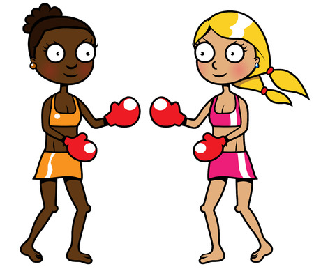 racism: Cartoon illustration of two girls of different ethnicity boxing