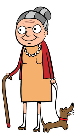 bella: illustrazione di una donna anziana felice a piedi il suo cane Vettoriali
