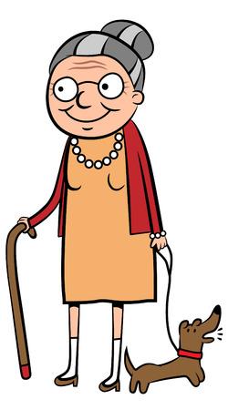 caricatura: ilustración de una mujer de edad feliz paseando a su perro
