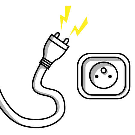 unplugged: Illustration of an unplugged cable and a socket
