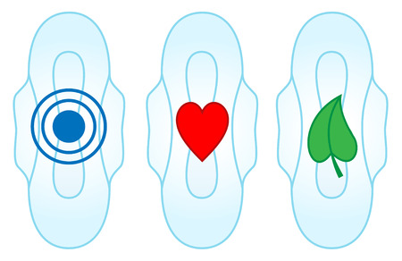 menstruation: Illustration of sanitary towels with symbols representing absorbance, breathability and comfort Illustration