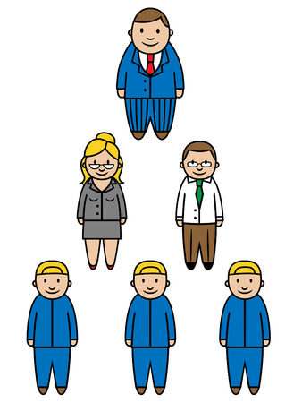 president's: Illustration of boss and employees structured into a hierarchy Illustration