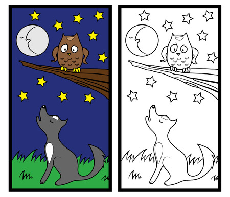 coloring sheets: Coloring paper with an owl and a fox for children