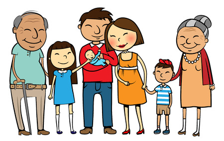 kin: Cartoon vector illustration of a large Asian family with parents, children and grandparents