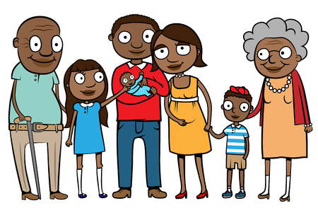 kin: Cartoon vector illustration of a large ethnic family with parents, children and grandparents Illustration