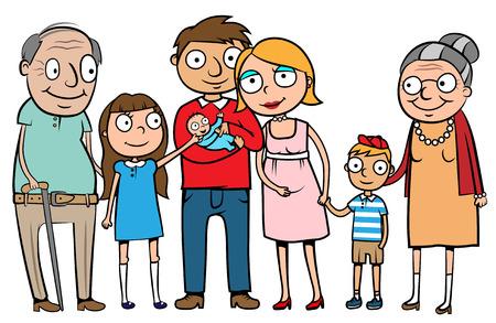 両親、子供、祖父母を持つ大家族の漫画ベクトル イラスト  イラスト・ベクター素材