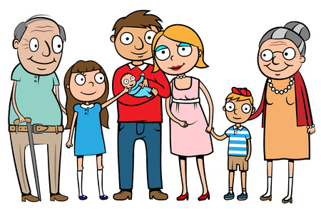 Cartoon vector illustration of a large family with parents, children and grandparents