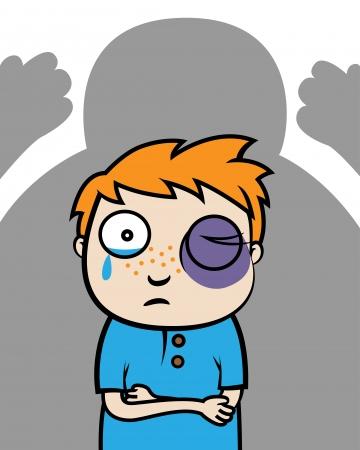 Cartoon illustrazione vettoriale di un ragazzo vittima di bullismo con l'occhio nero o vittima di violenza domestica Archivio Fotografico - 22528655