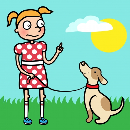 Cartoon vector illustration of a young girl training obedience with her dog