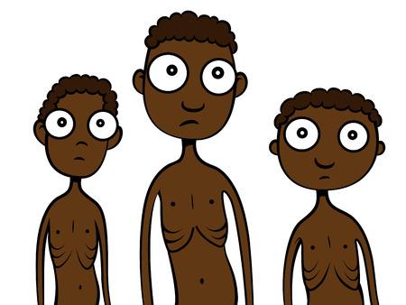 Cartoon vector illustratie van magere hongerige Afrikaanse kinderen