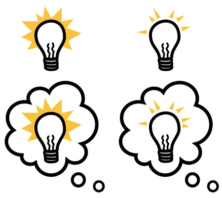 bulb light: Vector illustration of a light bulb representing an idea isolated and in a speech bubble set