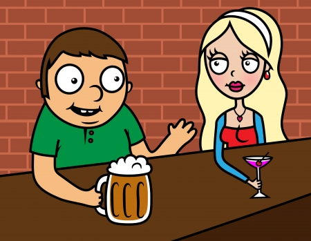 meet up: Vector illustration of young woman and man sitting in a bar, drinking, talking, flirting Illustration