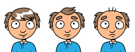 upset man: Cartoon vector illustration of a balding man