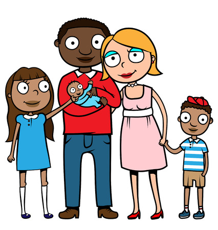 relative: Cartoon vector illustration of a Caucasian mother and ethnic father with their children