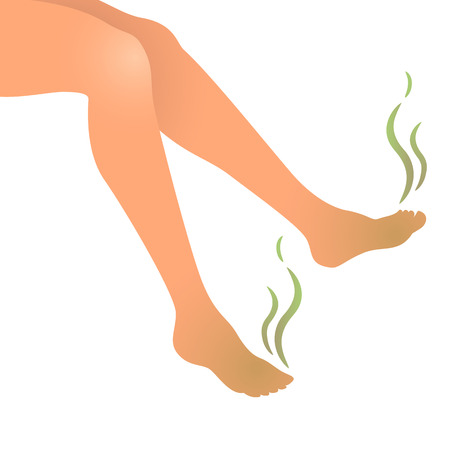 dirty feet: Vector illustration of smelly stinky feet