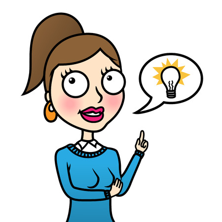 Business woman with light bulb in speech bubble representing idea Stock Vector - 22528721