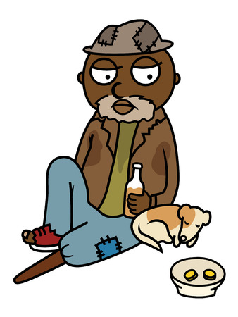 begging: Cartoon vector illustration of drunk homeless man sitting on street with his dog, begging