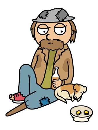 poor man: Cartoon vector illustration of drunk homeless man sitting on street with his dog, begging