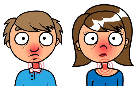 aching: Cartoon vector illustration of man and woman cold or sick with flu Illustration