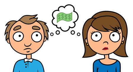 Cartoon vector illustration of porr man and woman thinking about money Иллюстрация