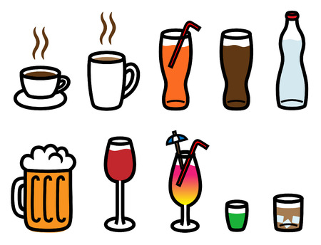 Cartoon vector illustration of alcohol, soft drinks and hot drinks