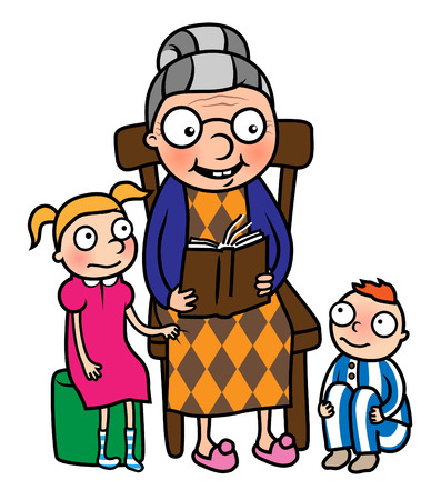 nanny: Cartoon vector illustration of grandmother reading book to her grandchildren or nanny reading book to young boy and girl Illustration