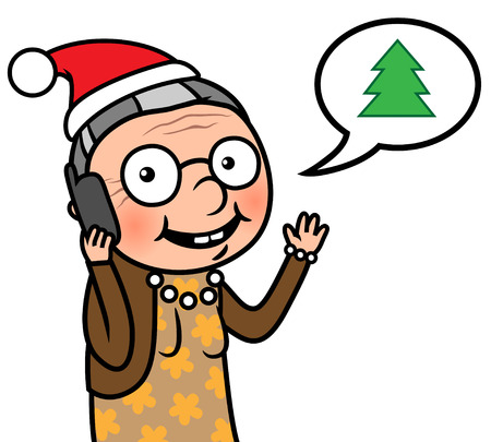 phonecall: Vector illustration of a happy old wearing a Santa hat chatting on cell phone on Christmas
