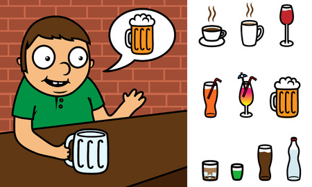 man drinking water: Cratoon vector illustration of a man ordering drink in bar with speech bubble, drink can be changed