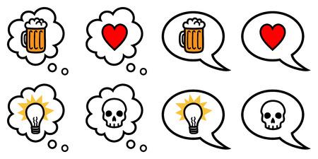愛、憎しみ、アイデア、別のアイコンをベクトル音声と思考の泡のイラストを飲む