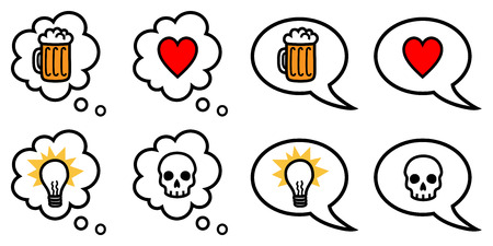 Vector illustration of speech and thought bubbles with different icons representing love, hate, idea, drinking Ilustração