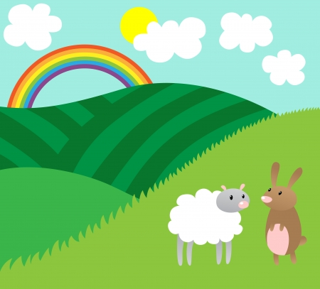 Cartoon vector illustration of sheep and rabbit in nature in spring, Easter theme Vector