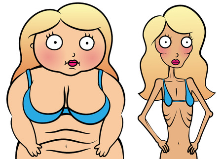 anorexia girl: Cartoon vector illustration of girl with anorexia and overweight girl, problem with anorexia and overeating concept, weight loss concept Illustration