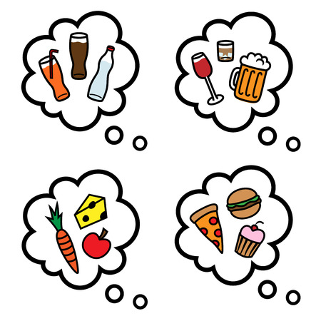 unhealthy thoughts: Cartoon vector illustration of thought speech bubbles with healthy and unhealthy food and drinks Illustration