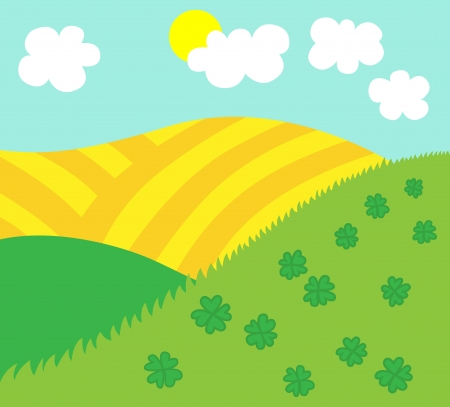 Cartoon vector illustration of Easter or spring nature background template Vector