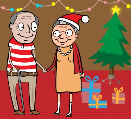 Cartoon vector illustration of happy old couple celebrating christmas by the christmas tree with presents