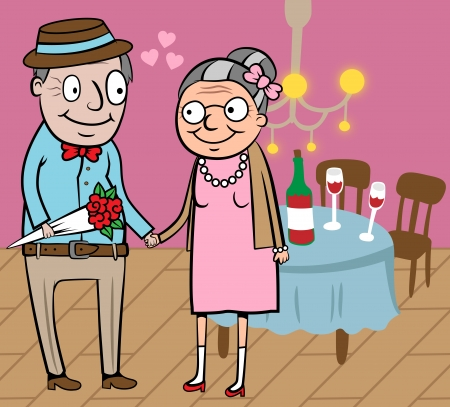 retirement home: Cartoon vector illustration of happy old couple celebrate valentine day